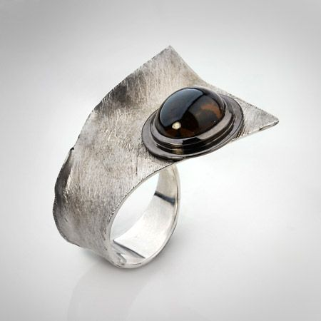 Ring | Gabriel Kabirski. Sterling silver, smoky quartz, rhodium plated