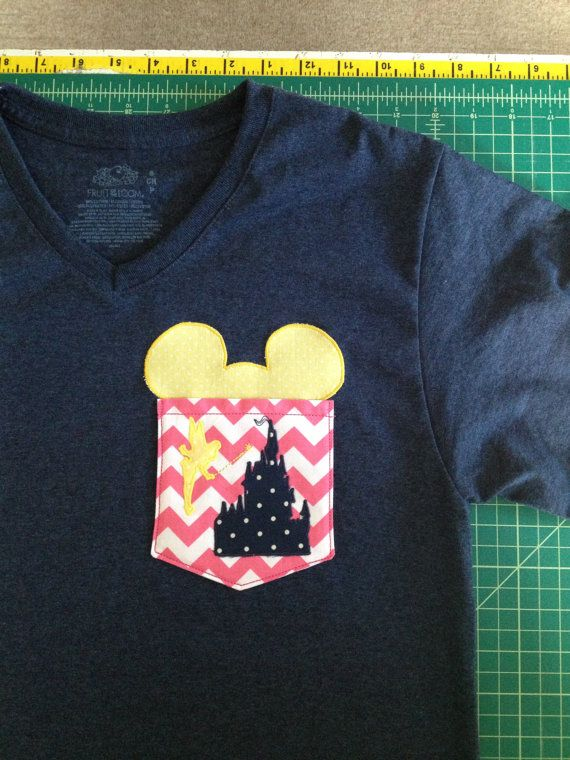 For the next trip :-) Disney Castle Tinkerbell Mickey Pocket Tee