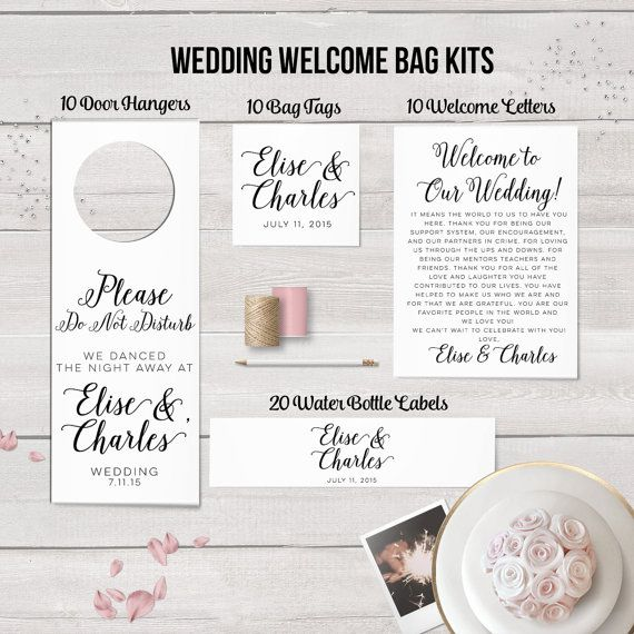 Wedding Welcome Bag Kits - SAVE $10 when purchasing items in a kit!! Wedding Door Hangers,Wedding Water Bottle Labels,Wedding Welcome Letters,Wedding Bag Tag