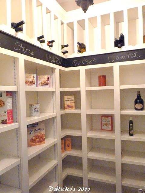 Great idea for wine slots in the pantry! Tags or chalkboard paint to label your favorites always in stock. :0)