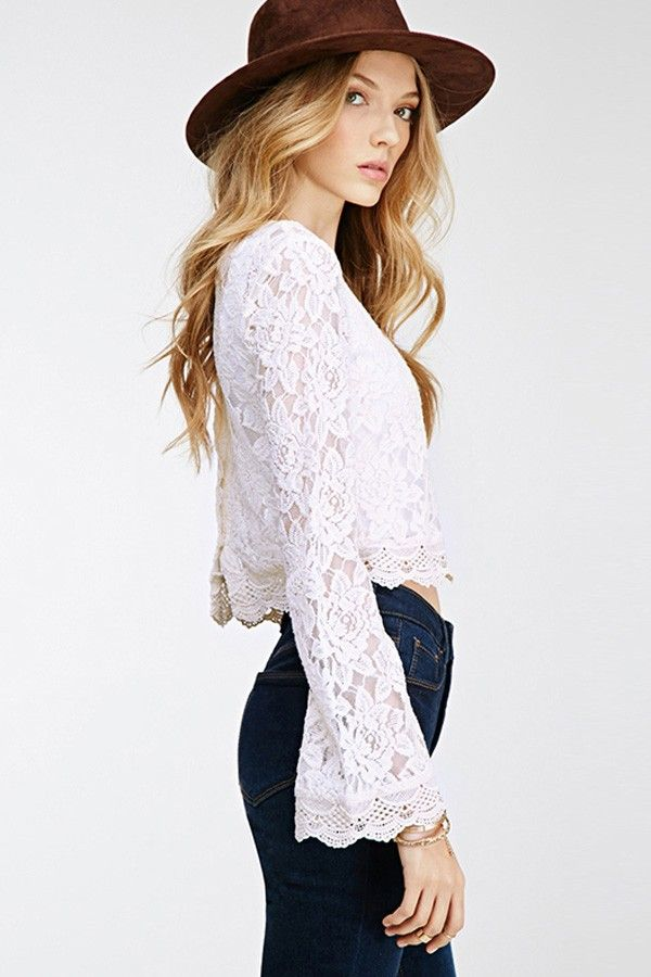long flare sleeve tops | Tops,Cropped Tops,Cheap Crop Tops,Long Sleeve Crop Tops,Cute Crop Tops ...