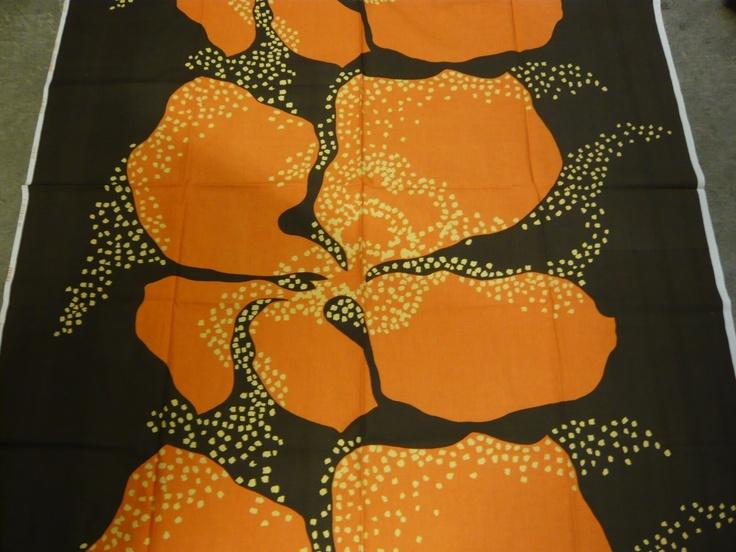 """Fin-Helen of Finland Tuula Kukkamäki """"Orkidea"""" Vintage Fabric Handprinted"""