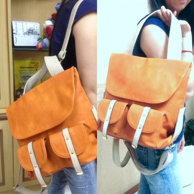 NEW ARRIVAL SUMMER 2013, NATASHA ORANGE LEATHER BACKPACK/SHOULDER BAG! It's your choice on how to wear it! ;)