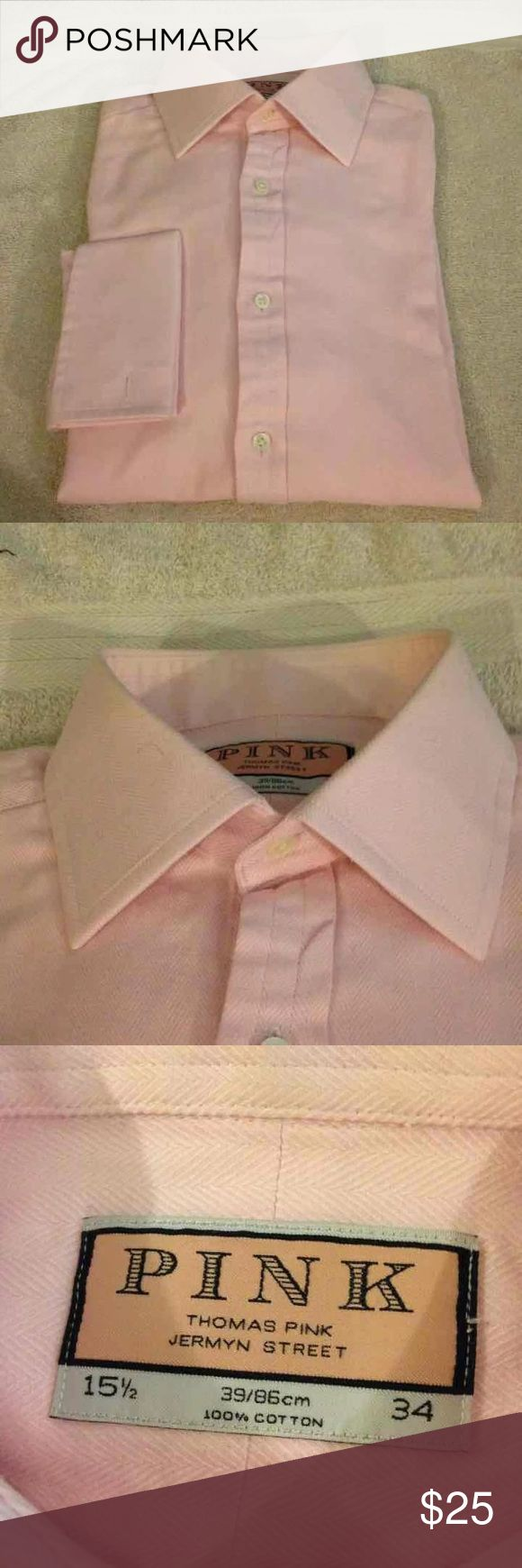 Thomas Pink Solid Pink French Cuff Shirt 15.5-34 Thomas Pink Solid Pink Herringbone French Cuff Dress Shirt size 15.5-34! Great condition! Please make reasonable offers and bundle! Ask questions! :) Thomas Pink Shirts Dress Shirts