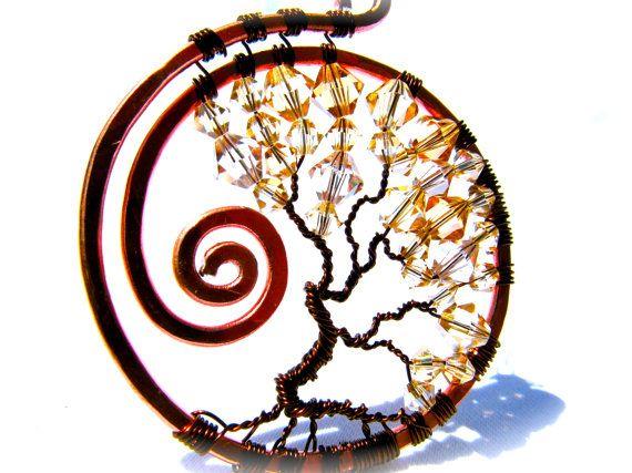 Reservados - árbol de la vida, oscuro el alambre de cobre con perlas Champagne, arena y luz topacio Swarovski Crystal en una cuerda de nylon marrón elegante gargantilla