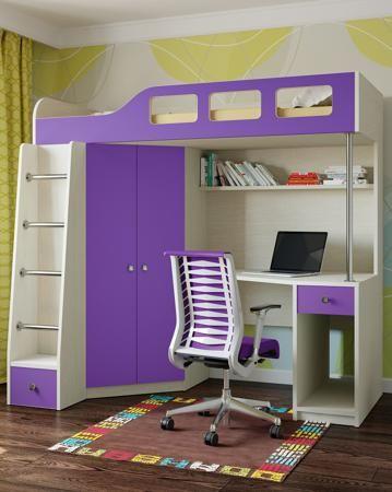 РВ мебель Астра 7 дуб молочный/фиолетовый  — 14500р. ----------- Детская кровать-чердак Астра 7 дуб молочный/фиолетовый РВ мебель порадует вас, ведь на двух квадратных метрах разместится вся необходимая мебель для подростка. Это идеальный вариант для компактных комнат, а также для тех семей, которые ценят простор и мно...