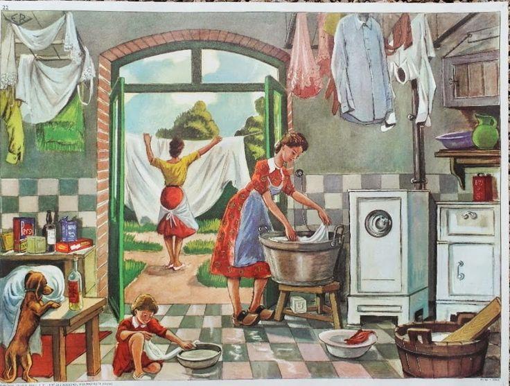 """Manuels anciens: Affiche """"La lessive"""" (tableau d'élocution Mdi)"""