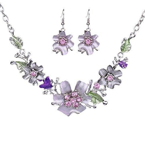 Paxuan Womens Silver Crystal Flower Choker Necklace Drop Dangle Earrings Jewelry Sets Bib Collar Statement Necklace Earring Set (Lavender)