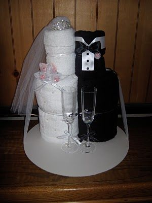 Bride and Groom towel wedding cake