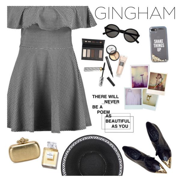 """Gingham Dress"" by hardcore-alc ❤ liked on Polyvore featuring Boohoo, CÉLINE, Borghese, Alexander McQueen, Yves Saint Laurent, Kate Spade, Polaroid and gingham"