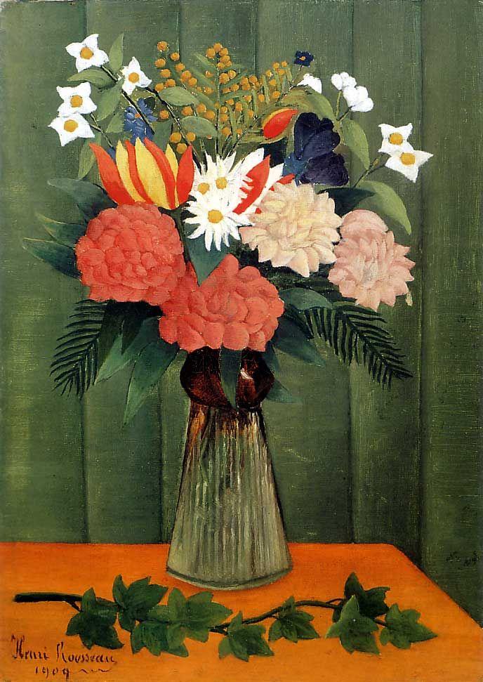 polyeucte-de-melitena:  Henri Rousseau (French, 1844-1910), Bouquet of Flowers with an Ivy Branch, 1909. Oil on canvas,45.4 x 32.7cm (17.9...