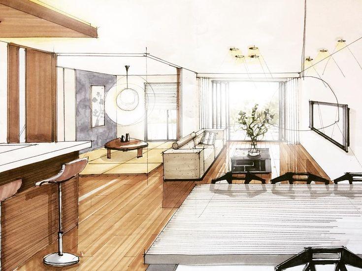 """356 Likes, 7 Comments - miyacyan (@tmk.arch) on Instagram: """"床の色変えました。 でもまだ明るすぎだね💦 和室とリビングのつながり、広がり感を、というテーマでございました🙌🏼 . #内観パース#建築パース#手描きパース #LDK #和室 #コーブ照明…"""""""