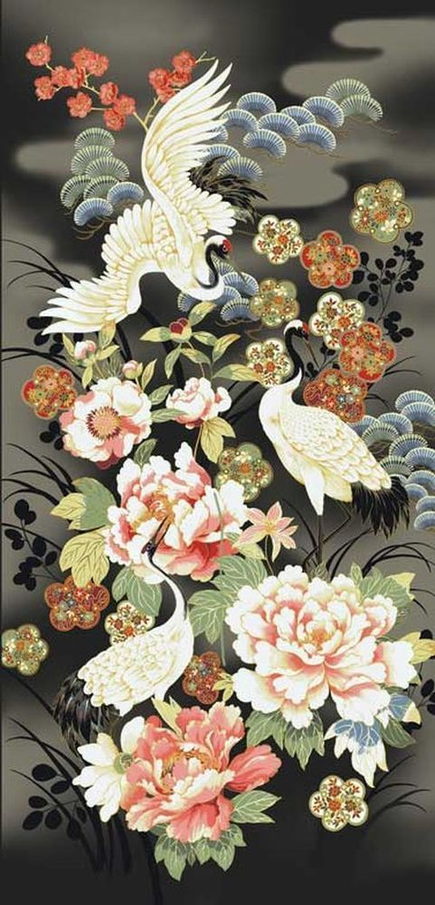 2 Yards Quilt Cotton Fabric - Red Rooster Tadashi Japanese Crane Floral Panel #RedRoosterFabrics