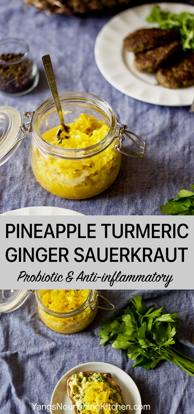 (Fermented) This Sauerkraut is loaded with flavours and anti-inflammatory health benefits from pineapple, turmeric and ginger. Sauerkrauts are probiotic, nutrient-dense, good for digestion, and a natural way to preserve.