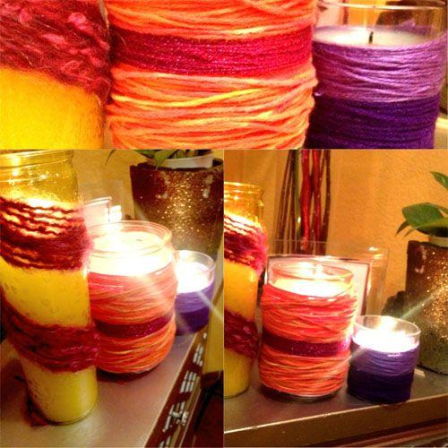 iLoveToCreate Blog: MAYAINTHEMOMENT TEEN CRAFT: Yarn Wrapped Candles