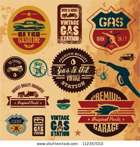 vector download 187 vintage gasoline retro signs and labels