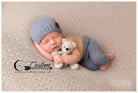 Kleidung Fotografie Neugeborenen Session – Baby Boy Requisiten, Neugeborenen Boy Kleidung, Foto Prop Set, Neugeborenen Hosen Foto Prop, passenden Hut, Boy Dia   – College Clothes