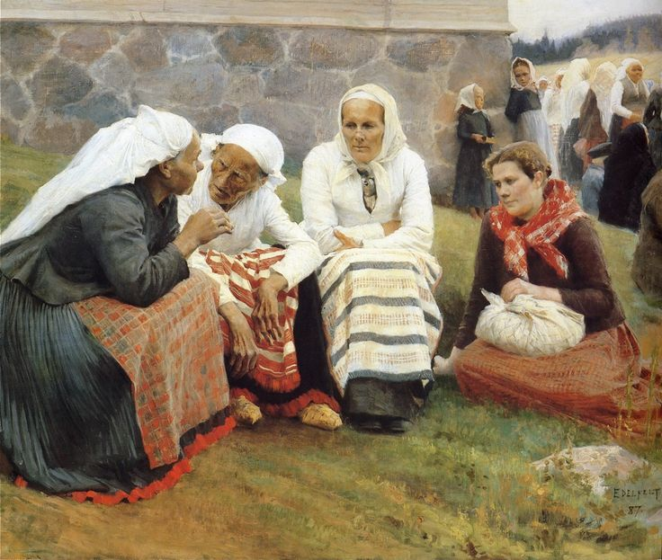 "floradelights: Albert Edelfelt. ""Old Women Outside the Church at Ruokolahti (The Gossips)"", 1887."