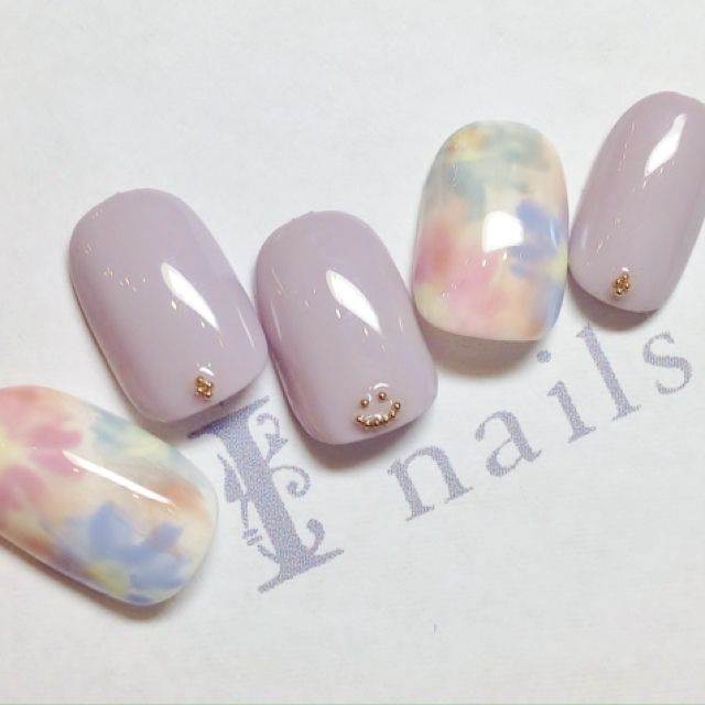 lavender purple flowers nail art