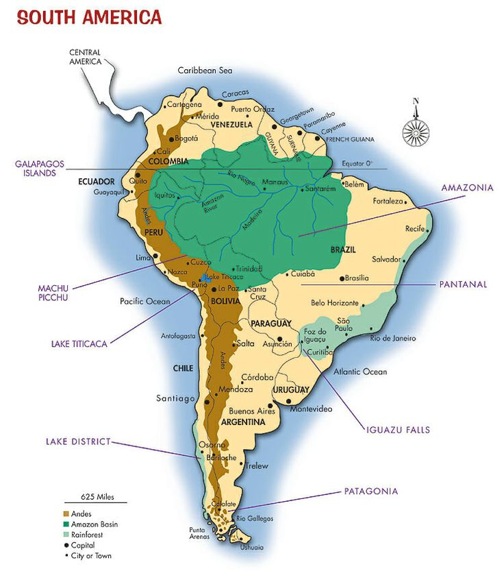South America Map - Amazon, Argentina, Bolivia, Brazil