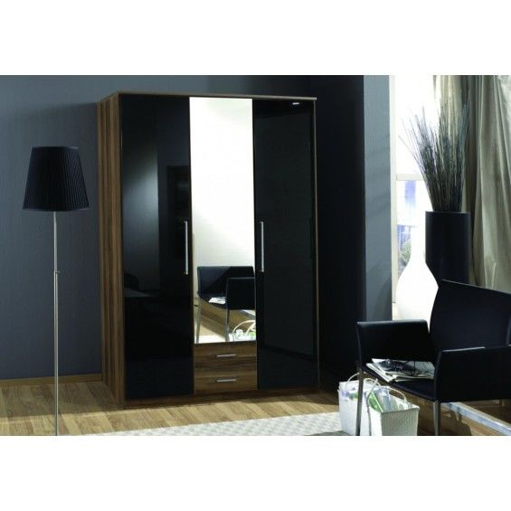 Walnut and black gloss wardrobe with full length mirrors, this stylish wardrobe has either 3 or 4 doors with metal handles for doors and drawers . The full length mirrors accompanied by the black gloss and walnut makes this a stylish alternative to other wardrobes.