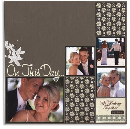"Lovely ""On This Day"" Wedding Scrapbooking Page...Ask Robin - www.archiversonline.com/ideas/scrapbook-layouts-12x12-on-this-day-1176.  Click on the archivers blog to get the information on this card."