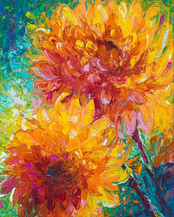 """""""Passion"""" by Talya Johnson  Gorgeous dinnerplate-sized orange dahlias growing in my Alaskan garden reminded me of the firey passion I have for painting. This image remains one of my personal favorites though the original was snatched up right away. """"Passion"""" is sure to live up to its name and bring blessings into your life as well. ~Tali"""