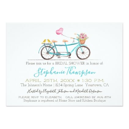 Watercolor Tandem Bicycle Bridal Shower Card - invitations custom unique diy personalize occasions