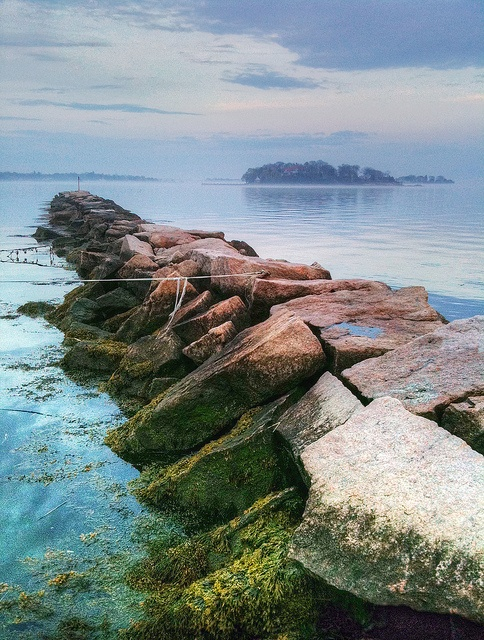 Pine Orchard Pier, Branford, CT -- pink granite from local quarry ... walk to the end for view of beautiful Thimble Islands ...and Long Island Sound