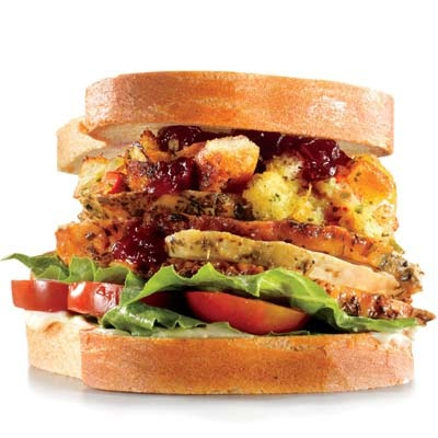 The Gobbler (sliced turkey, romaine, tomato, stuffing, cranberry sauce) Good way to