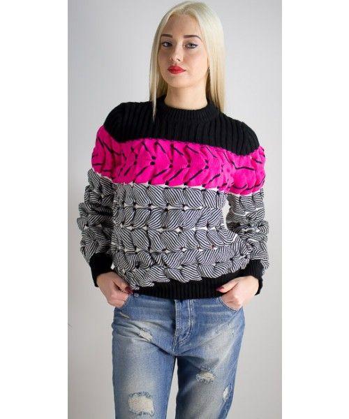 Maglione a righe fluo dalla vestibilità regolare disponibile in diversi colori