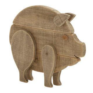 Wood Pig Statue By Benzara