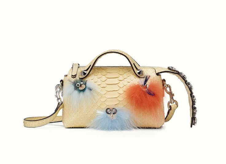 The Fendi By The Way Mini Fashion Show Boston bag in yellow python leather.