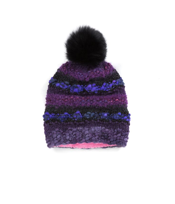 KNIT BEANIE CAP FOR WOMEN in Royal Purple - The GŌBLE Women Knit Beanie Cap is a luxurious soft blend of merino wool, alpaca, silk and mohair HAND KNIT IN CANADA GOBLE.CA