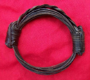 Bulky bracelet with braided hair between the knots. Fits any size. Price $190 incl. ship & insurance