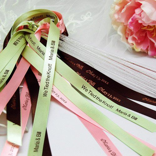 Personalized Wedding Ribbon Wands by Beau-coup