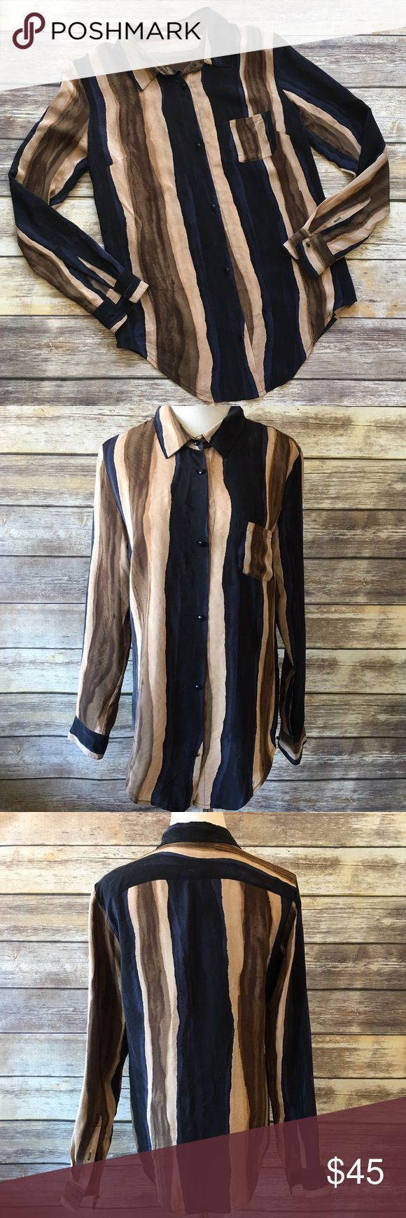 """Rebecca Minkoff Silk Blouse Rebecca Minkoff silk Button Down Blouse. Size 4. Measures from pit to pit 19""""/ length 27"""". Made of 100% silk. There is a little snug on the front as shown in pic 4. Rebecca Minkoff Tops Blouses"""