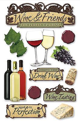 WINE 3-D Multi-Layered Stickers scrapbooking GRAPES bottles CORK bottles CHEESE