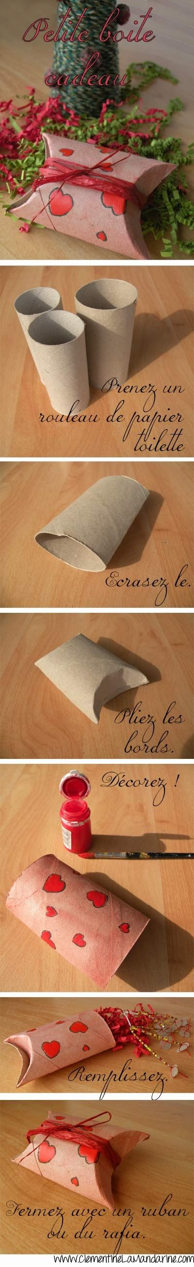 What a superb idea for recycling toilet paper rolls. Using a paper towel roll and the same technique, you could utilize it for longer gifts such as pencils, pens, wooden utensils, etc.