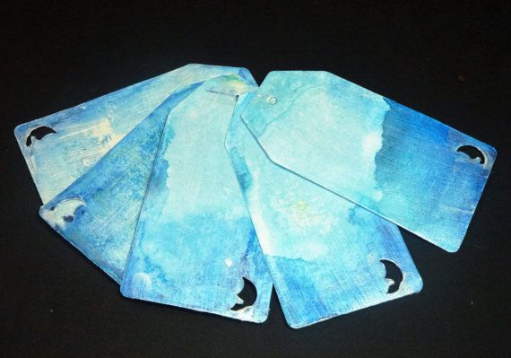 4pcs moon cardstock colored handmade tags set by AzraelWest
