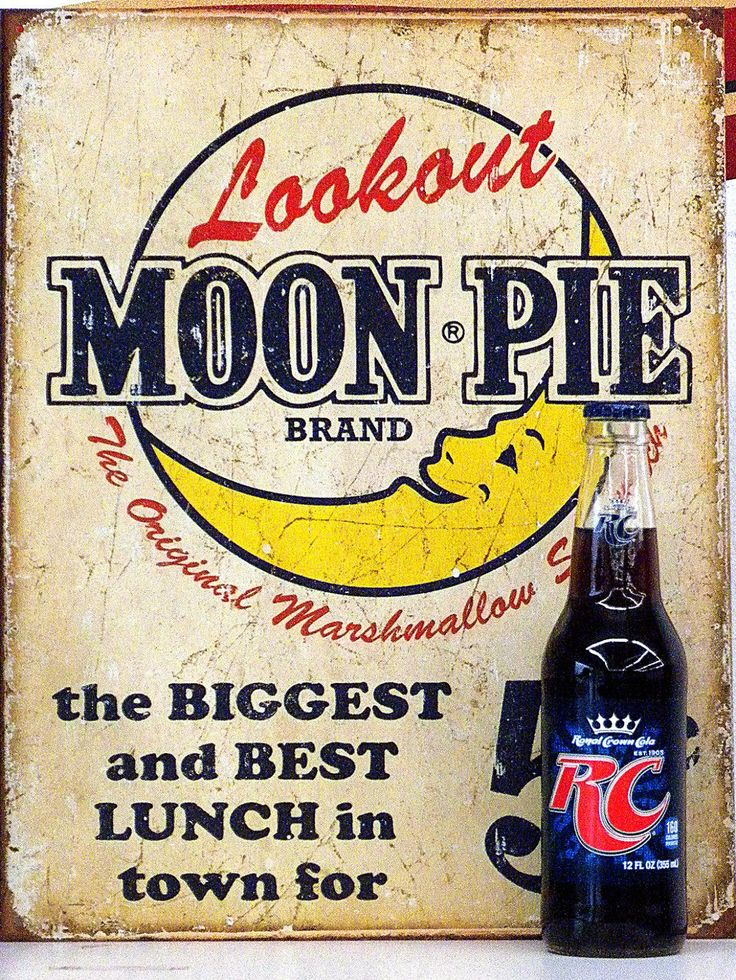 vertical, moon pie metal sign with rc cola bottom in front