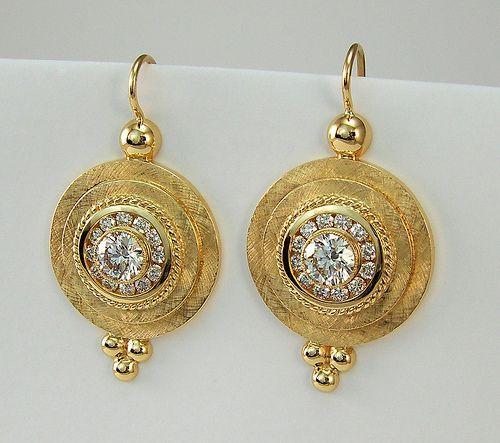 18 Karat griechische Schild Diamant Ohrringe / 2