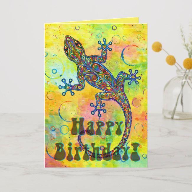Electric Gecko Psychedelic Lizard Birthday Card Affiliate Lizard Birthday Card Psychedelic Ad Birthday Cards Custom Greeting Cards Cards