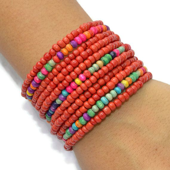 Red Multicolored Wire Wrapped Beaded Handamade Bracelet Jewelry Women Gifts For Her Thick Bracelets Birthday Boho Bohemian Beach Jewellry