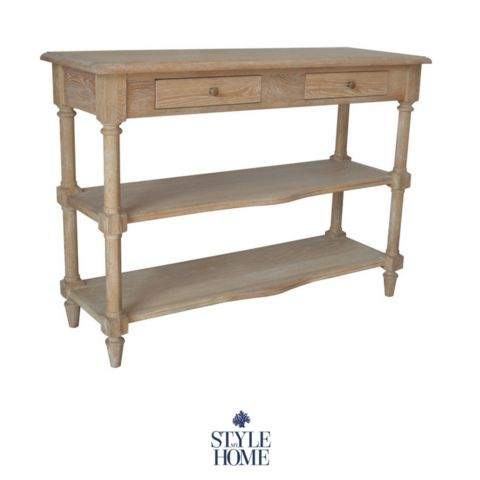 'Francesco' Oak Console with 2 drawers and shelf