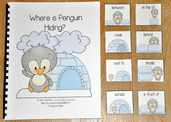 "This book, ""Where is Penguin Hiding?"" is a winter or cold climate animals themed book. In this activity, the teacher or therapist reads the story as the students match positional words or preposition cards to each page. Students must identify where the penguin is in relation to the ice blocks or igloo on each page. Sample Verse: ""Where is Penguin hiding? Where can he be? He's behind the ice blocks, As we can plainly see!"""