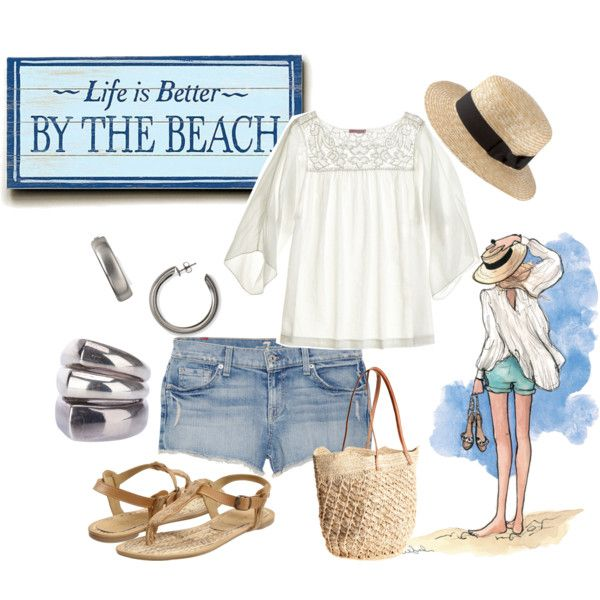 Cute beach outfit - for over 40, lengthen shorts and roll once or go for a comfy denim skirt