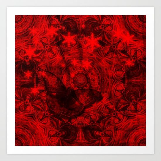 Butterfly and fractal in black and blood red by Wendy Townrow