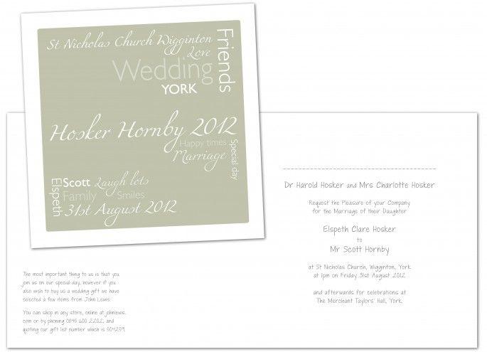 Sage 'Wordle' Wedding Invites