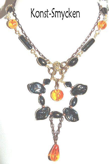 Septemberblomma, halsband med glaspärlor